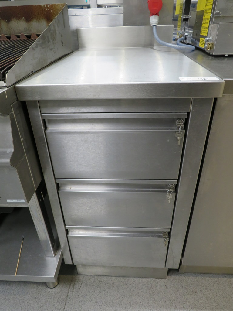 Lot 15 - STAINLESS STEEL THREE-DRAWER PREP UNIT WITH SPLASHBACK