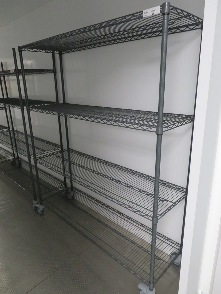 Lot 38 - FOUR TIER GREY COATED MESH KITCHEN STORAGE RACK