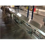 Arrowhead SS bottle conveyor 25 inch long x 4 1/2 inch wide table top chain. Infeed to filler, no