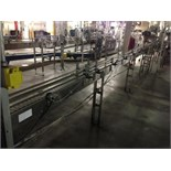 Arrowhead SS bottle conveyor, 3 1/4 inch table top chain approx. 30 feet long with motor and