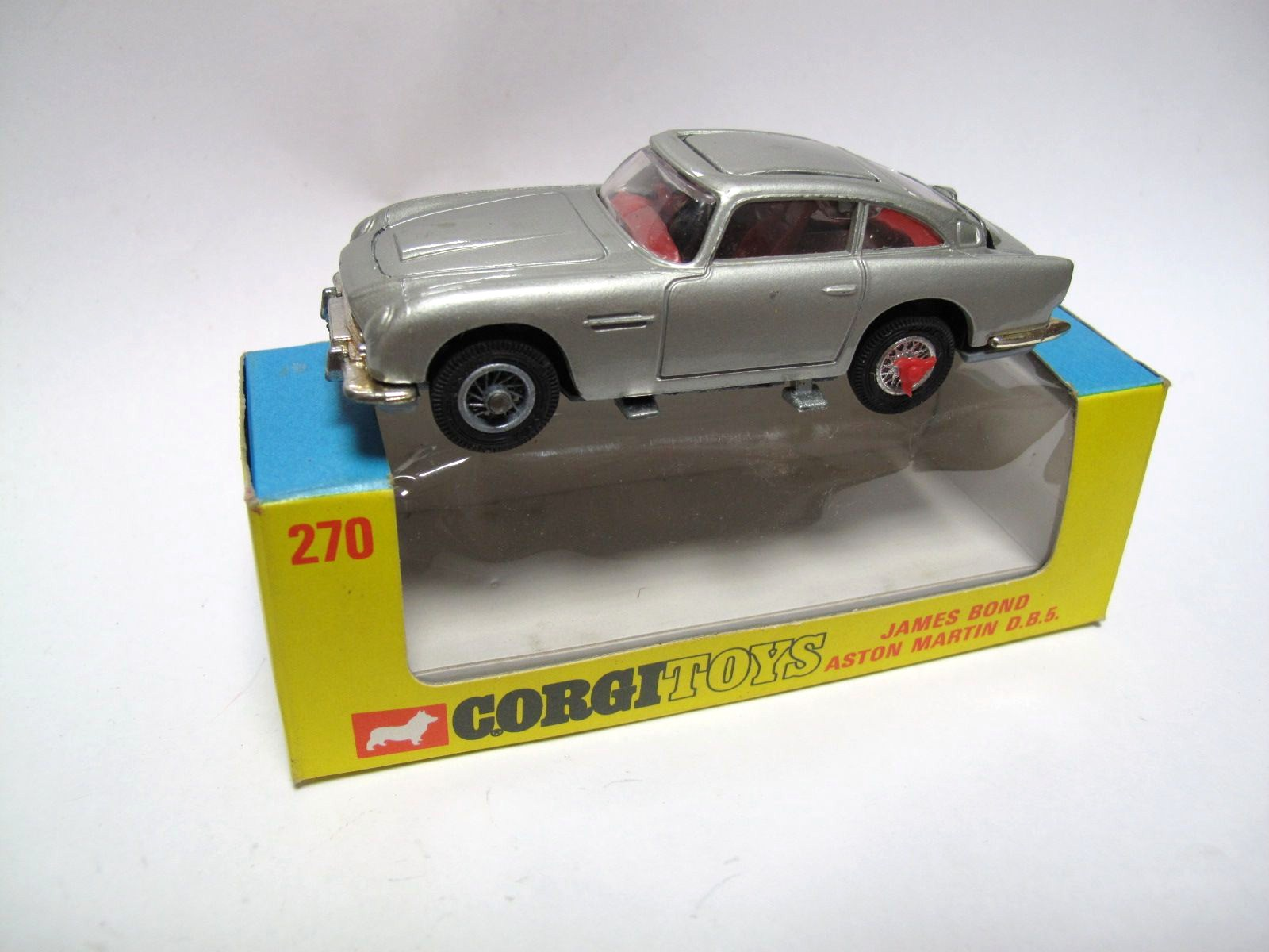 corgi no. 270 james bond aston martin db5, silver with revolving