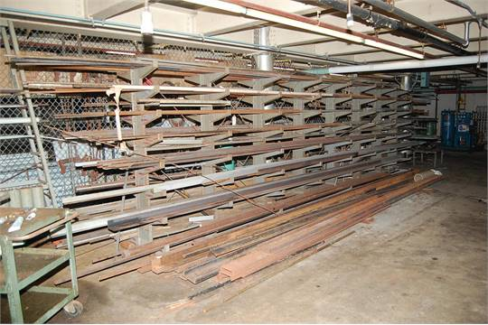 Lyon Double Side Cantilever Rack w/Contents, Sq Tubing, Angle Iron ...