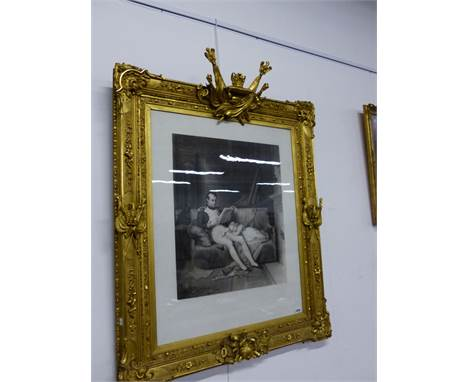 AFTER STEUBEN. THE EMPEROR NAPOLEON WITH HIS DAUGHTER IN A LIBRARY, ENGRAVING IN CONTEMPORARY GILTWOOD AND GESSO FRAME. PLATE