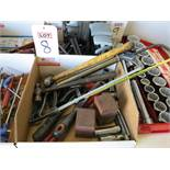 LOT - ASSORTED HAND TOOLS: HAMMERS, NUMBER STAMPS, HACK SAWS, PIPE WRENCH, SOCKETS