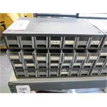 28-DRAWER PARTS BIN, W/ CONTENTS: ELECTRONIC PARTS