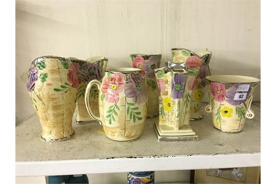 A Collection Of Seven Various Arthur Wood Art Deco China Jugs And