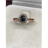 18ct SAPPHIRE & DIAMOND CLUSTER RING