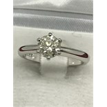 1.00ct DIAMOND SOLITAIRE RING SET IN 18ct WHITE GOLD