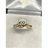 18ct YELLOW GOLD DIAMOND CROSSOVER CLUSTER RING