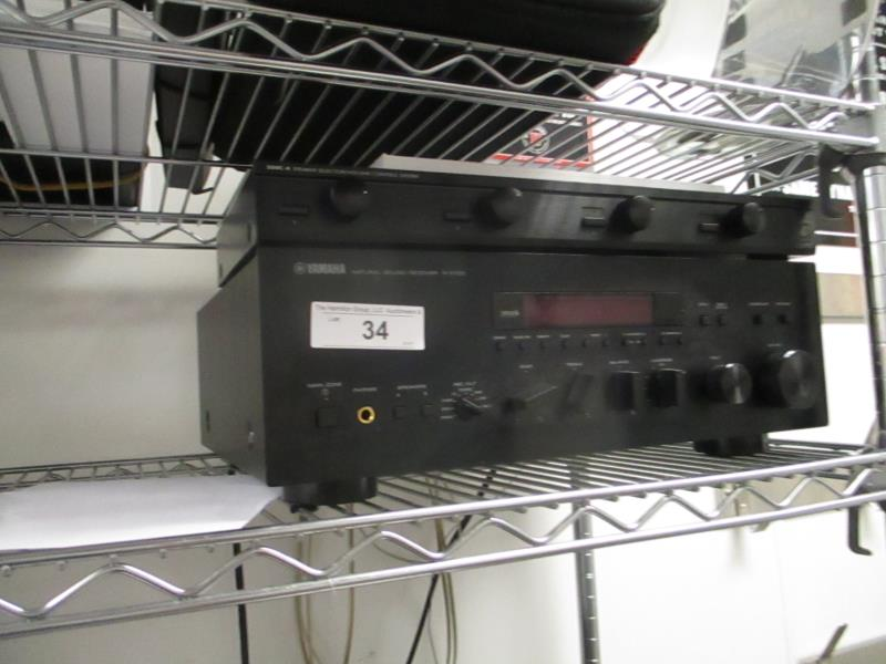 Lot 34 - Yamaha Natural Sound Receiver, Model: R-5700 & SSVC-4 Speaker Selector by Niles & Speakers