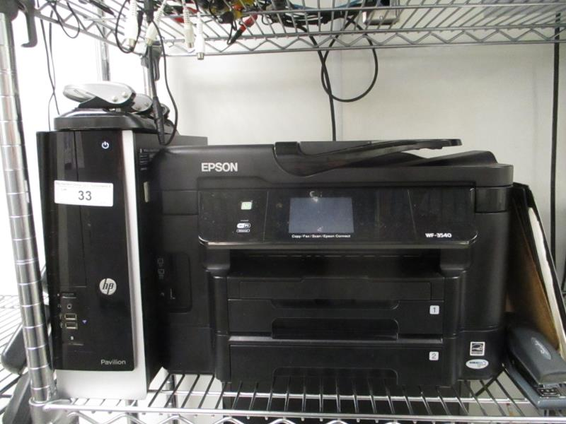 Lot 33 - CPU by HP, Model: Pavilion, LED Monitor & Epson Workforce WF-3540 Laser Multifuntion Printer, Broher