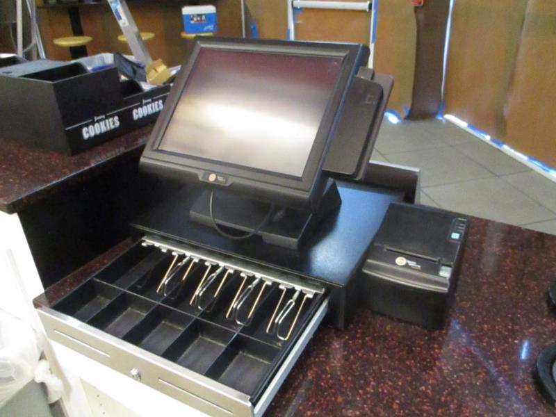 Lot 3 - POS System by PDQ / Signature Systems, w/ (2) Touch Screen Counter Terminals, (2) Metal Cash