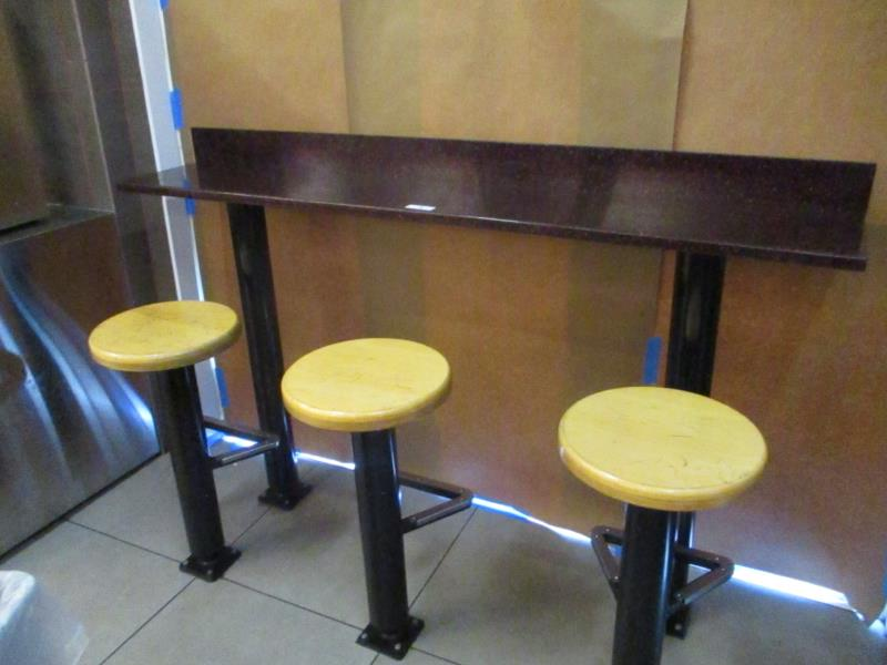 Lot 8 - 6' Granite Lunch Counter w/ 3 Wooden Top Stools