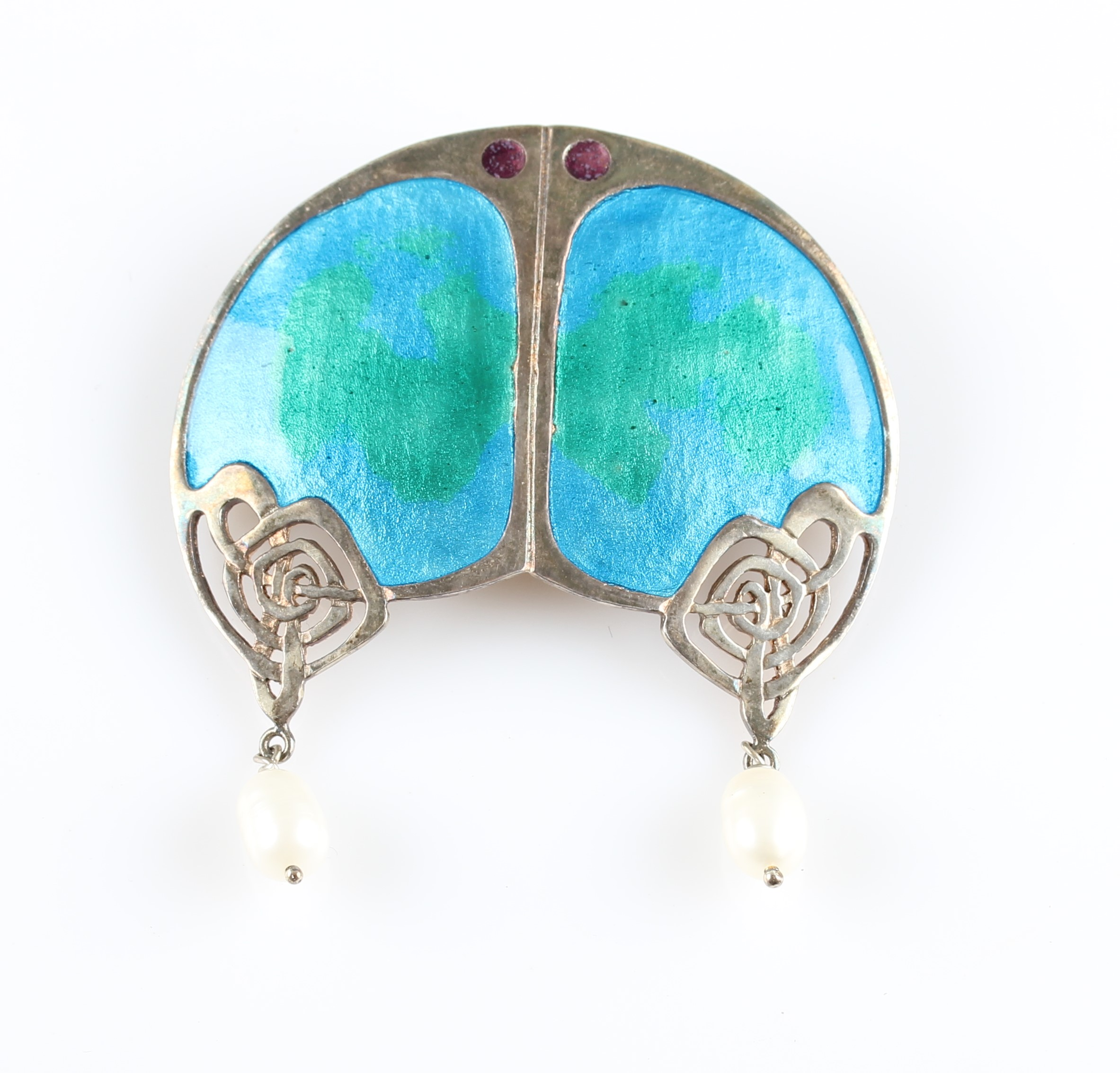 Lot 2 - A Liberty & Co. silver, enamel and freshwater pearl brooch, having blue to green enamel panels