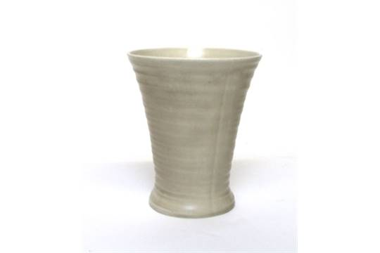 Clarice Cliff For Wilkinsons A Plain Moulded Vase Of Ridged Form H