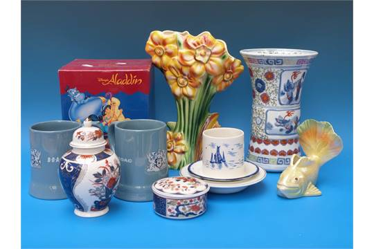 A Collection Of Various Ceramics To Include Kalmar Vase Wade