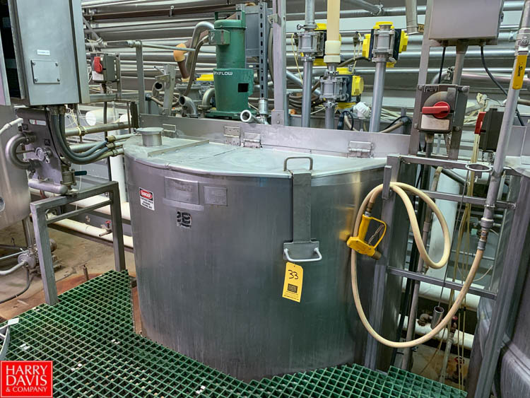 Lot 33 - 2012 Lee 500 Gallon Dual-Hinged-Lid Jacketed S/S Kettle Model 500 D : SN 72622-1, 125 PSI Jacket,