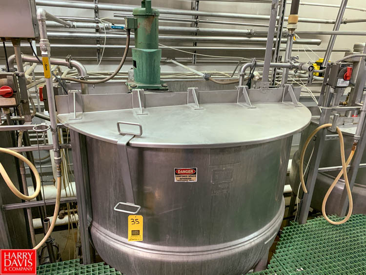 Lot 35 - Lee 750 Gallon Dual-Hinged-Lid Jacketed S/S Kettle Model 750 D : SN 12264-2, 125 PSI Jacket, with