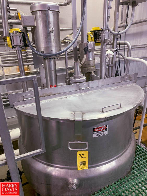 Lot 32 - 300 Gallon Double-Motion Dual-Hinged-Lid Jacketed S/S Kettle, 50 PSI Jacket, with High Shear