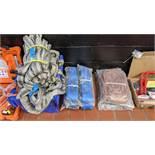 2 off 12m 4 tonne lifting straps, 4 off 12m 10 tonne ratchet tie down straps, 2 off 4m 6 tonne