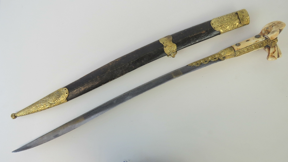 Lot 45 - A mid 19thC Turkish Yataghan sword with