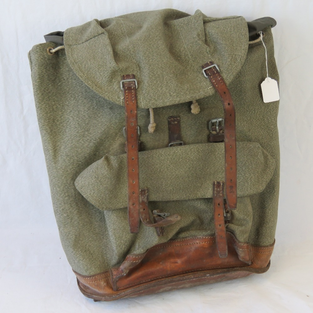 Lot 219 - A mid 20thC Swiss Army canvas and leathe