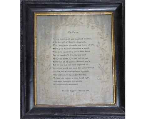 George III embroidery sampler 'On Virtue' by Harriet Doggett, Nailsea, 1806, 37 x 31cm
