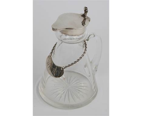 George V hallmarked silver mounted cut glass whisky noggin, mount and lid Birmingham 1935 maker S Blanckensee & Son Ltd,