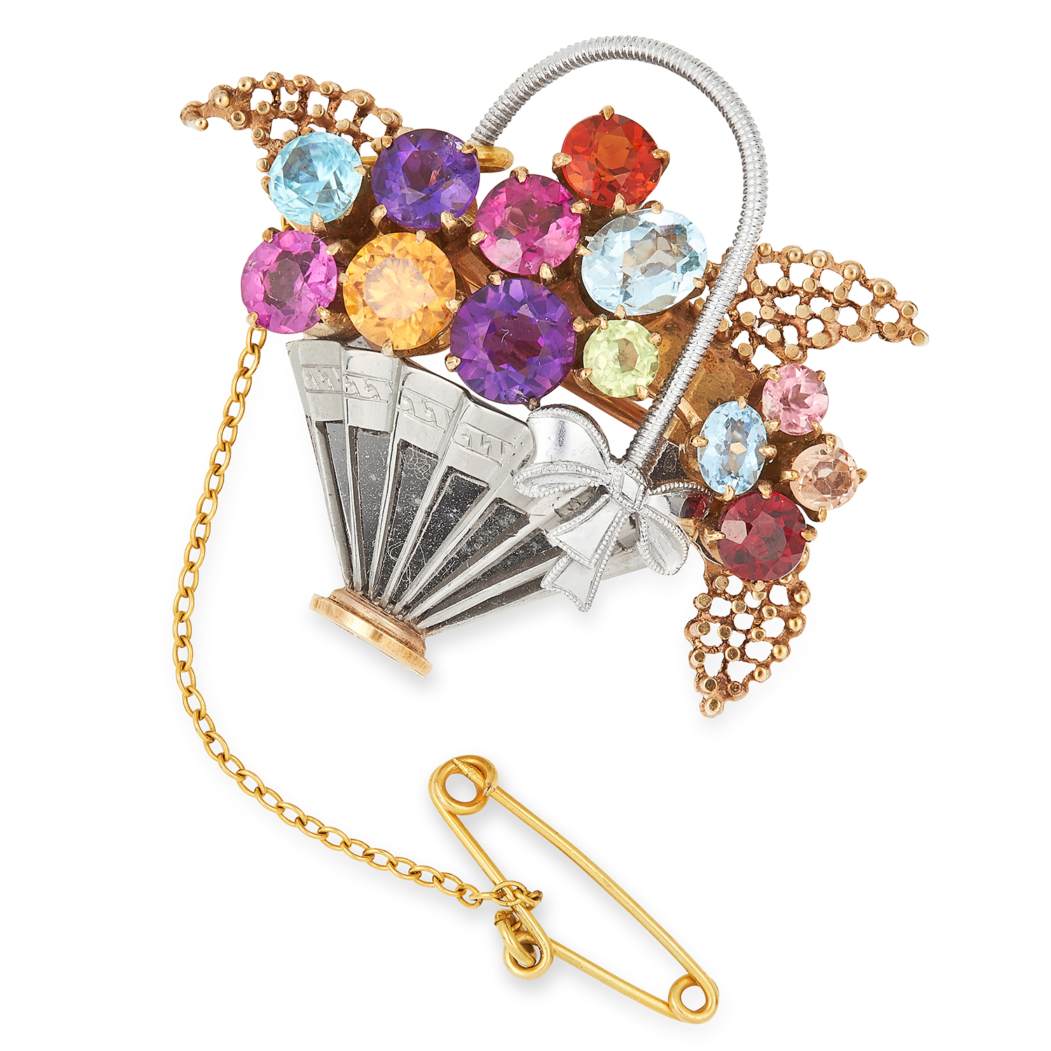 GEMSET GIARDINETTO BASKET BROOCH set with various coloured gemstones, 4cm, 11.9g.