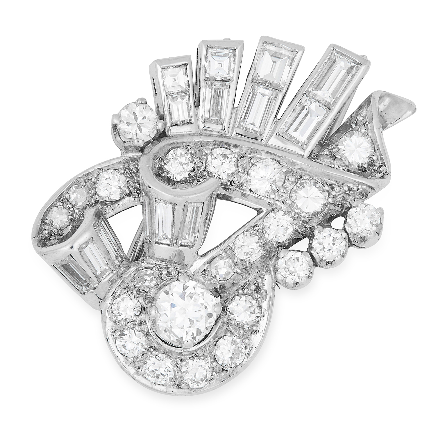DIAMOND CLIP BROOCH set with round and baguette cut diamonds, 2.8cm, 8.4g.