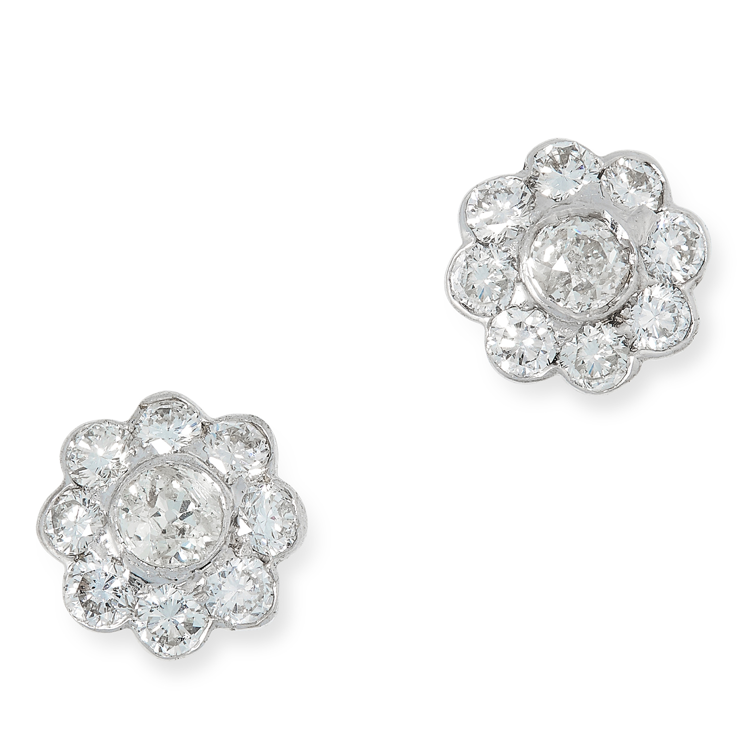 DIAMOND CLUSTER EARRINGS set with round cut diamonds totalling approximately 1.64 carats, 3.3g.