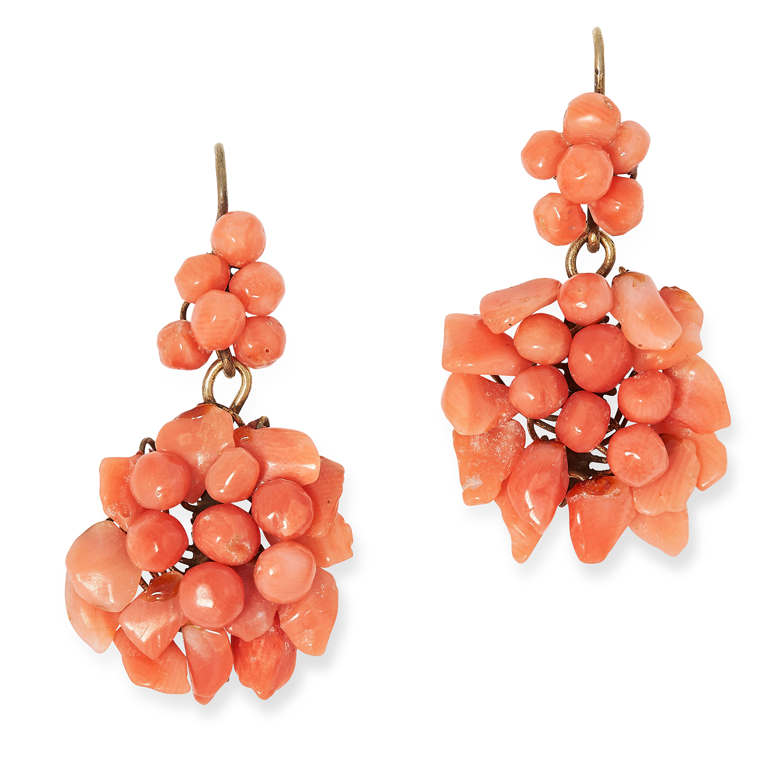 ANTIQUE CORAL EARRINGS in grape vine design set with polished coral, 3.5cm, 4.4g.