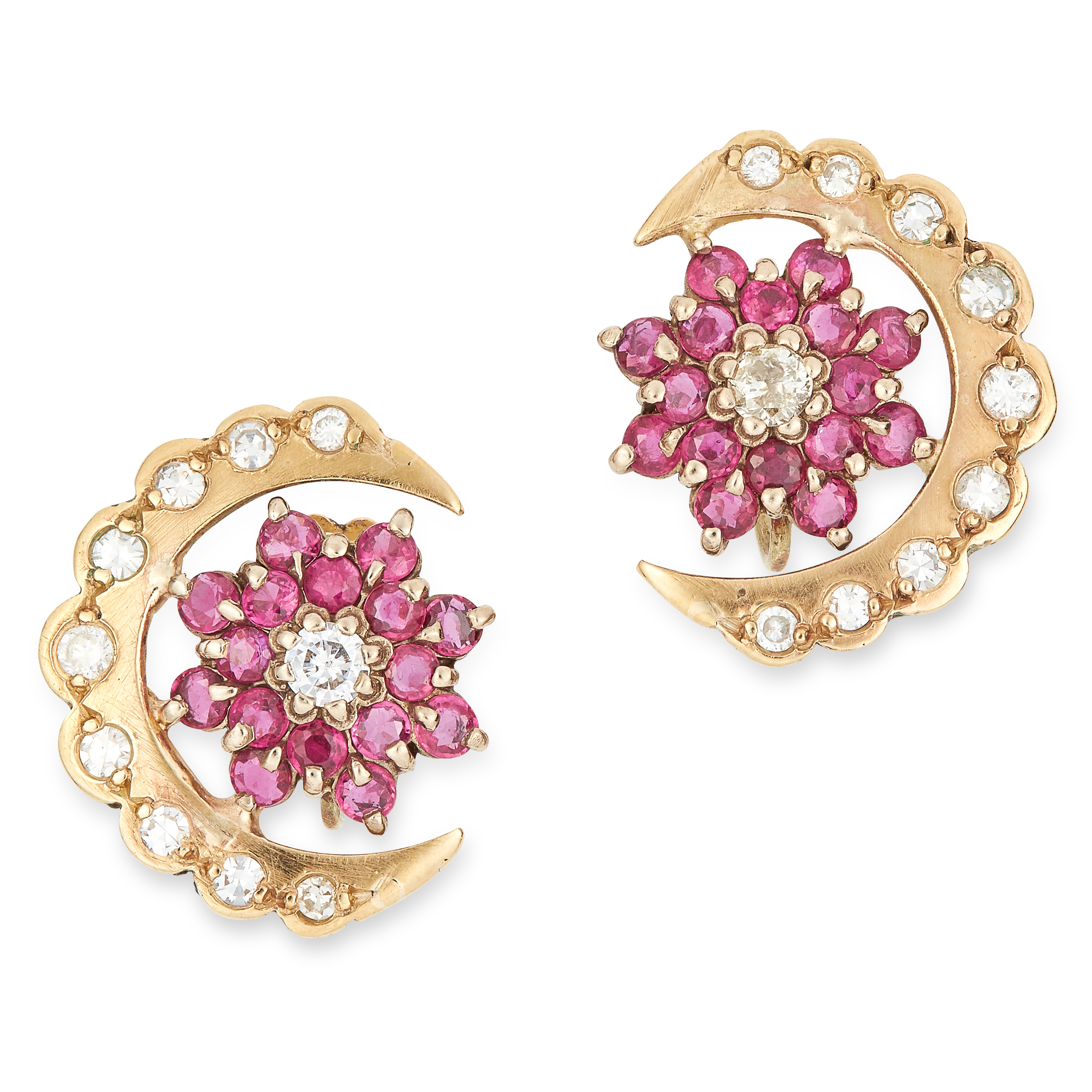 Los 52 - RUBY AND DIAMOND CRESCENT MOON EARRINGS set with round cut rubies and diamonds, 1.9cm, 5.4g.