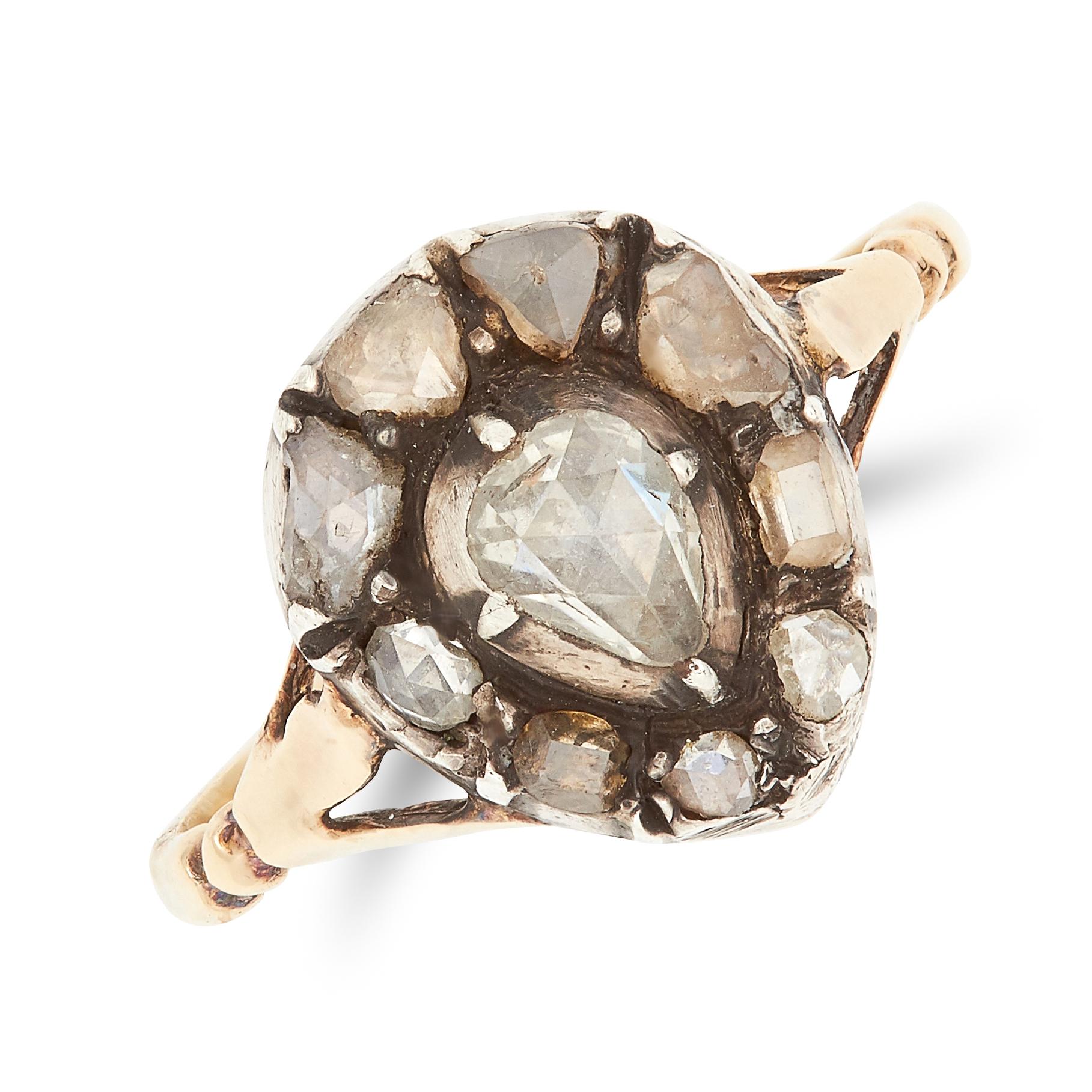 ANTIQUE GEORGIAN DIAMOND RING set with rose cut diamonds in foliate design, size M / 6, 2.3g.