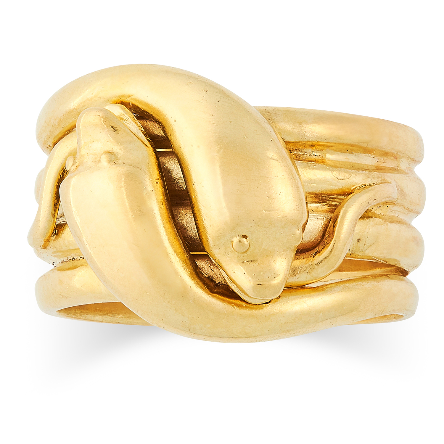 Los 85 - ANTIQUE SNAKE RING comprising of two intertwined snakes, size R / 8.5, 16.6g.