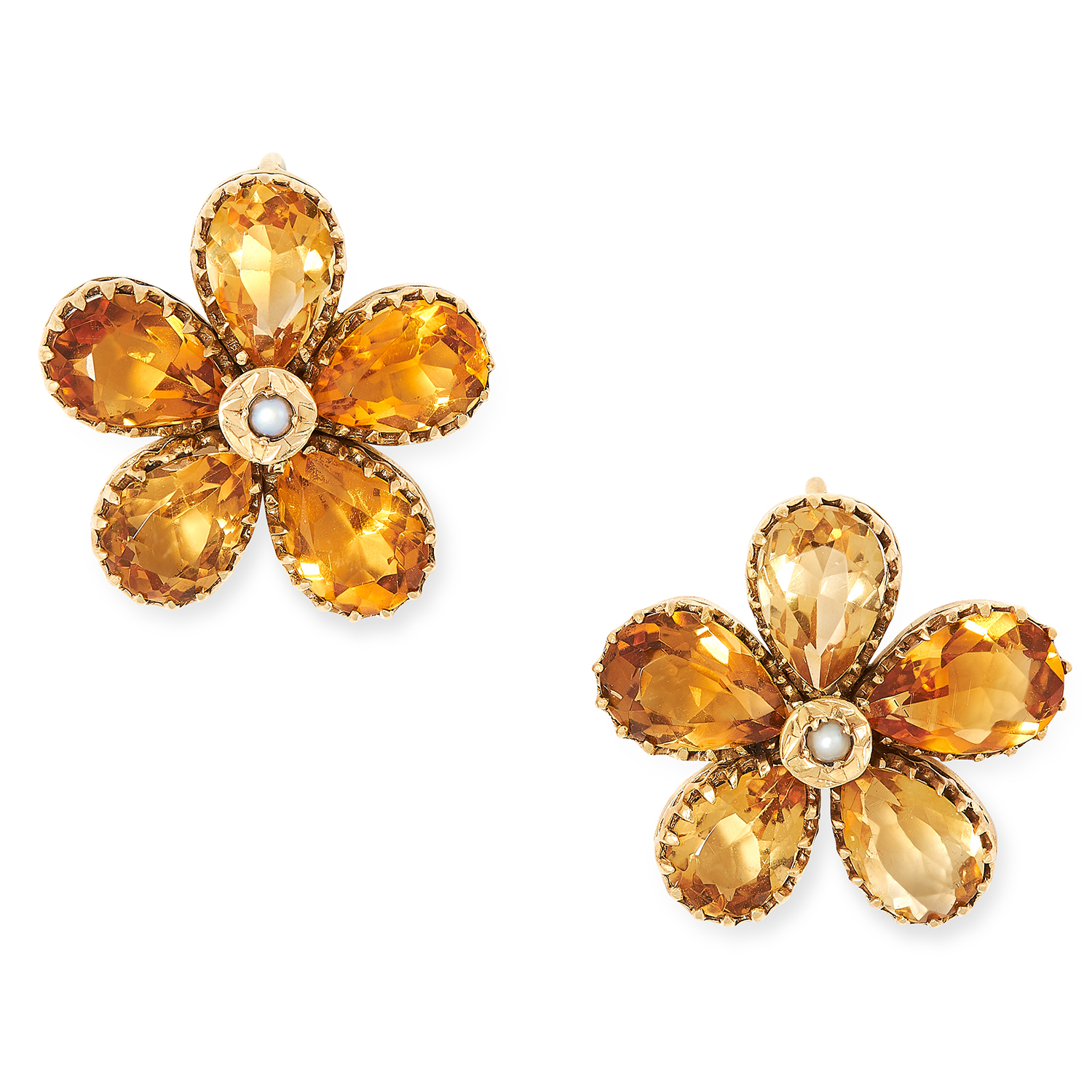 CITRINE AND PEARL FLOWER EARRINGS each set with a pearl in a border of pear cut citrine, 2cm, 6g.