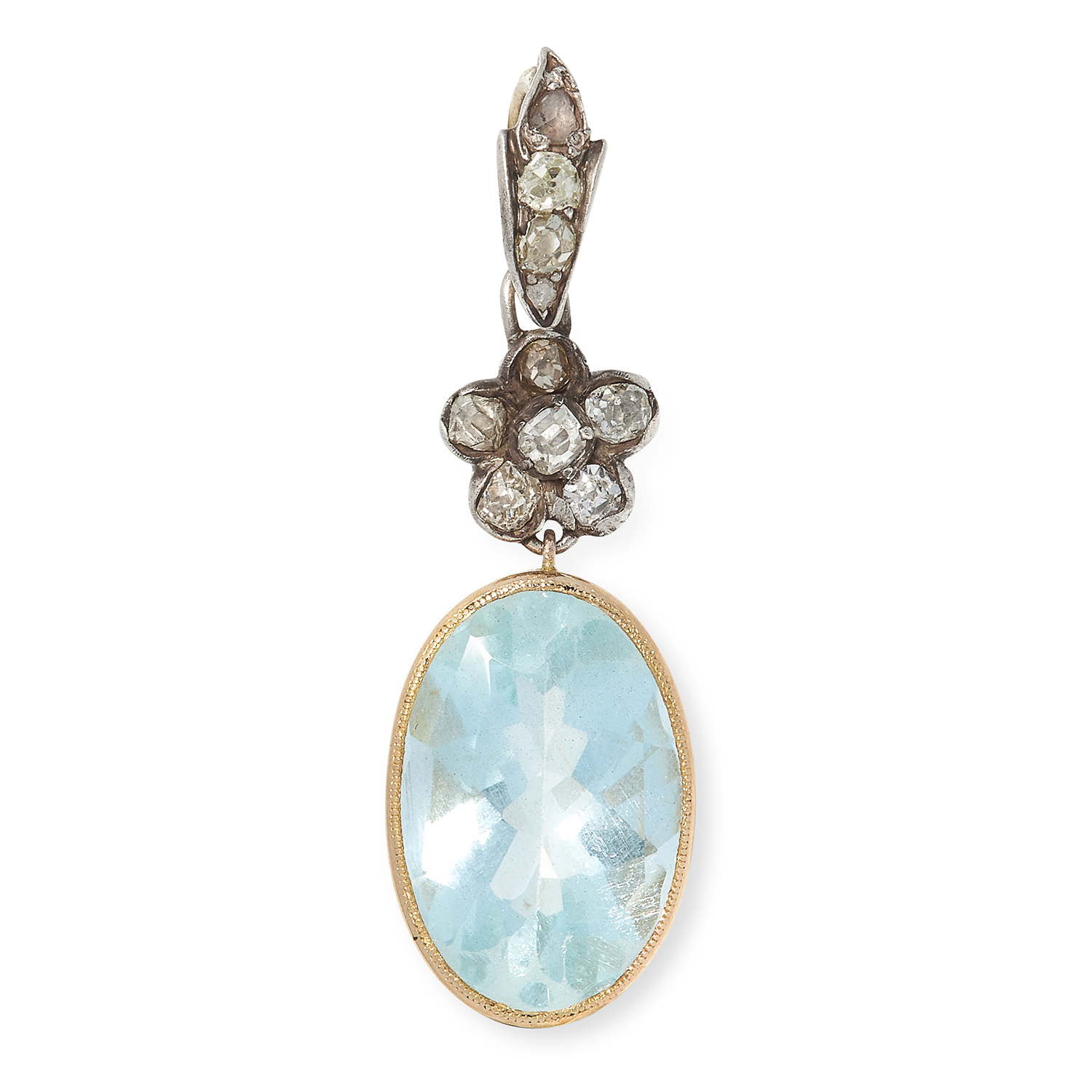AQUAMARINE AND DIAMOND PENDANT set with an oval cut aquamarine of approximately 6.99 carats below