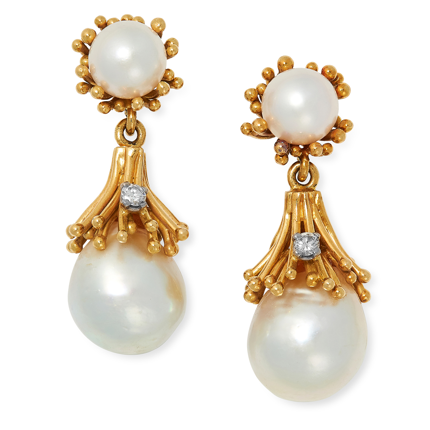 Los 8 - VINTAGE PEARL AND DIAMOND DROP EARRINGS, CIRCA 1970 each set with two pearls and a round cut