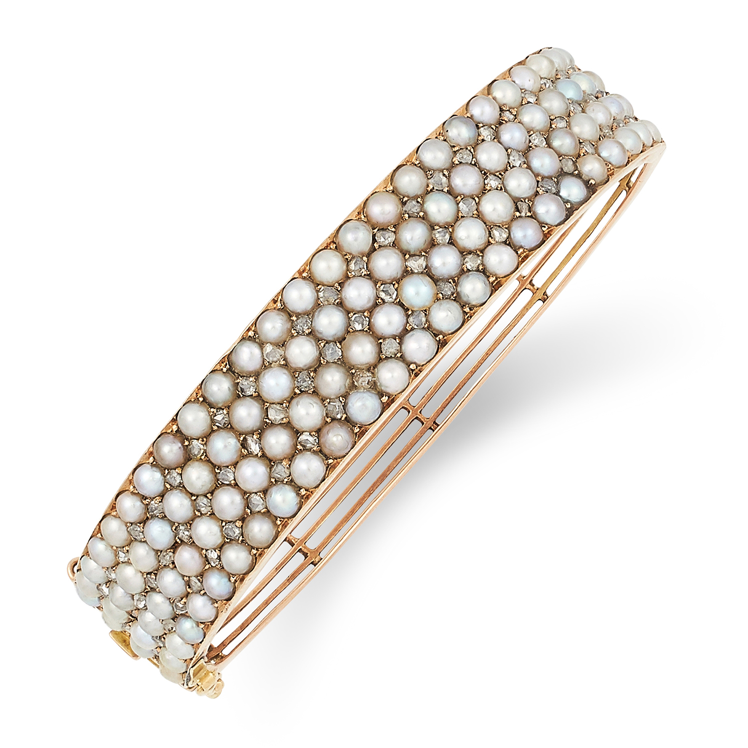 Los 53 - ANTIQUE PEARL AND DIAMOND BANGLE set with seed pearls and rose cut diamonds, 6cm inner diameter,