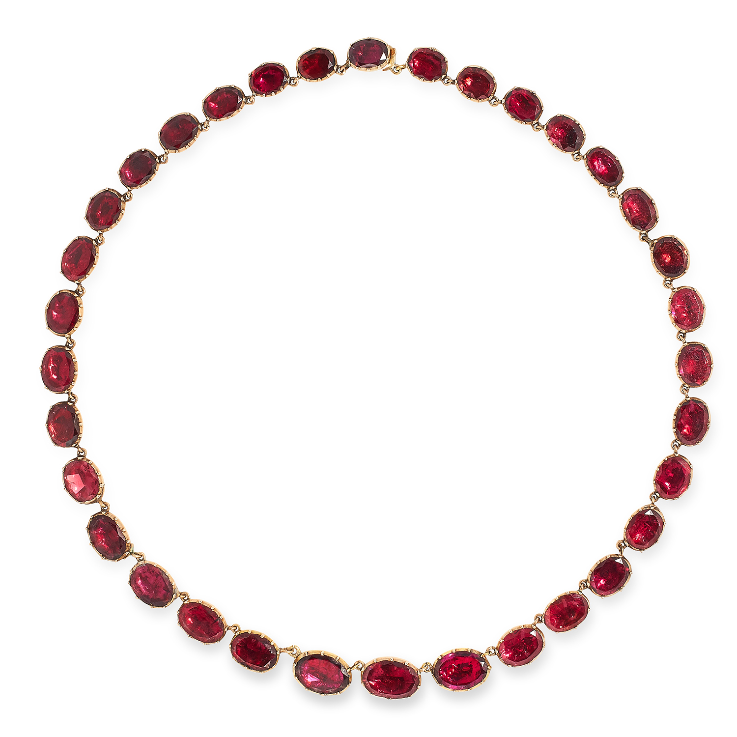 ANTIQUE VICTORIAN GARNET RIVIERA NECKLACE set with oval cut garnets, 39cm, 28.6g.