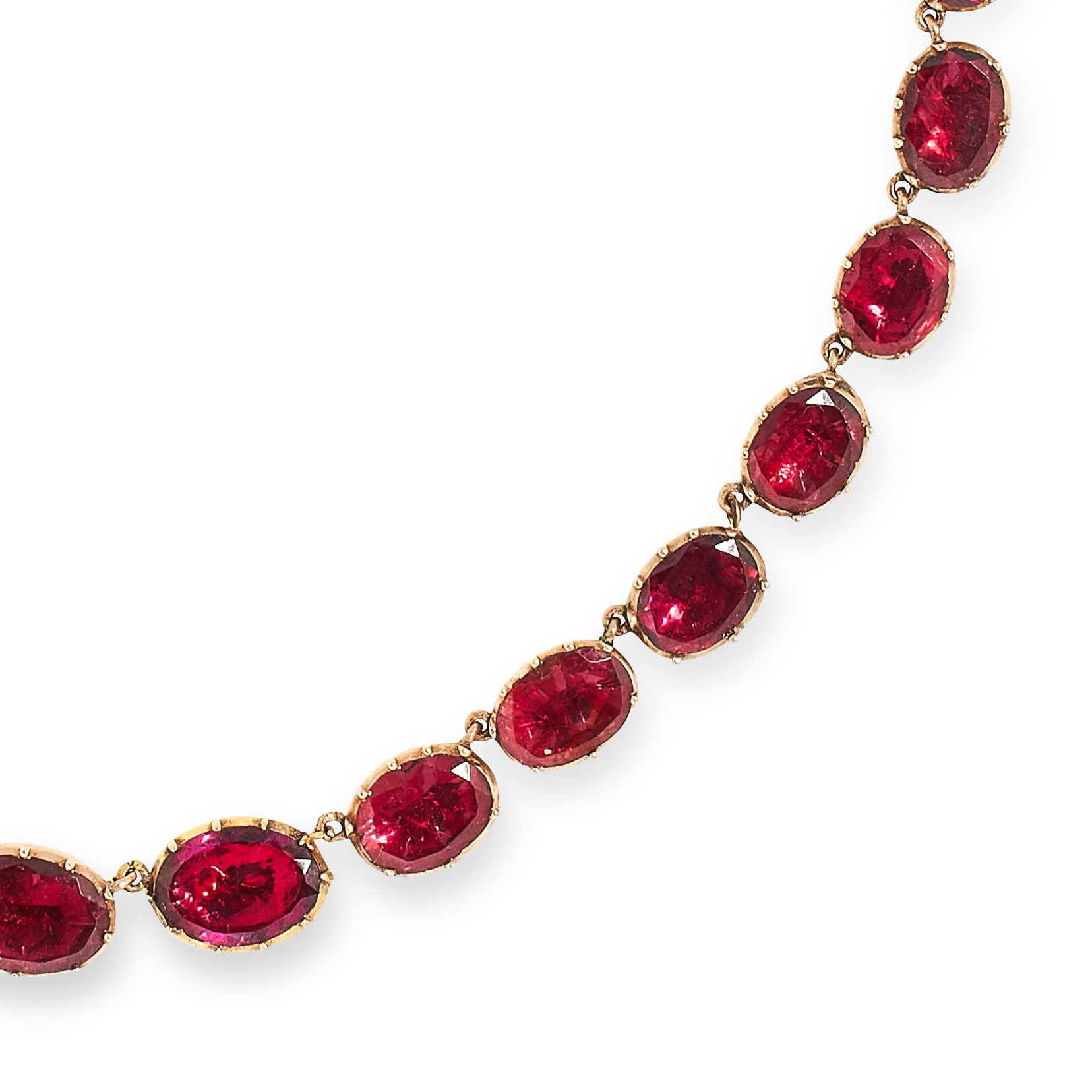 ANTIQUE VICTORIAN GARNET RIVIERA NECKLACE set with oval cut garnets, 39cm, 28.6g. - Bild 2 aus 2