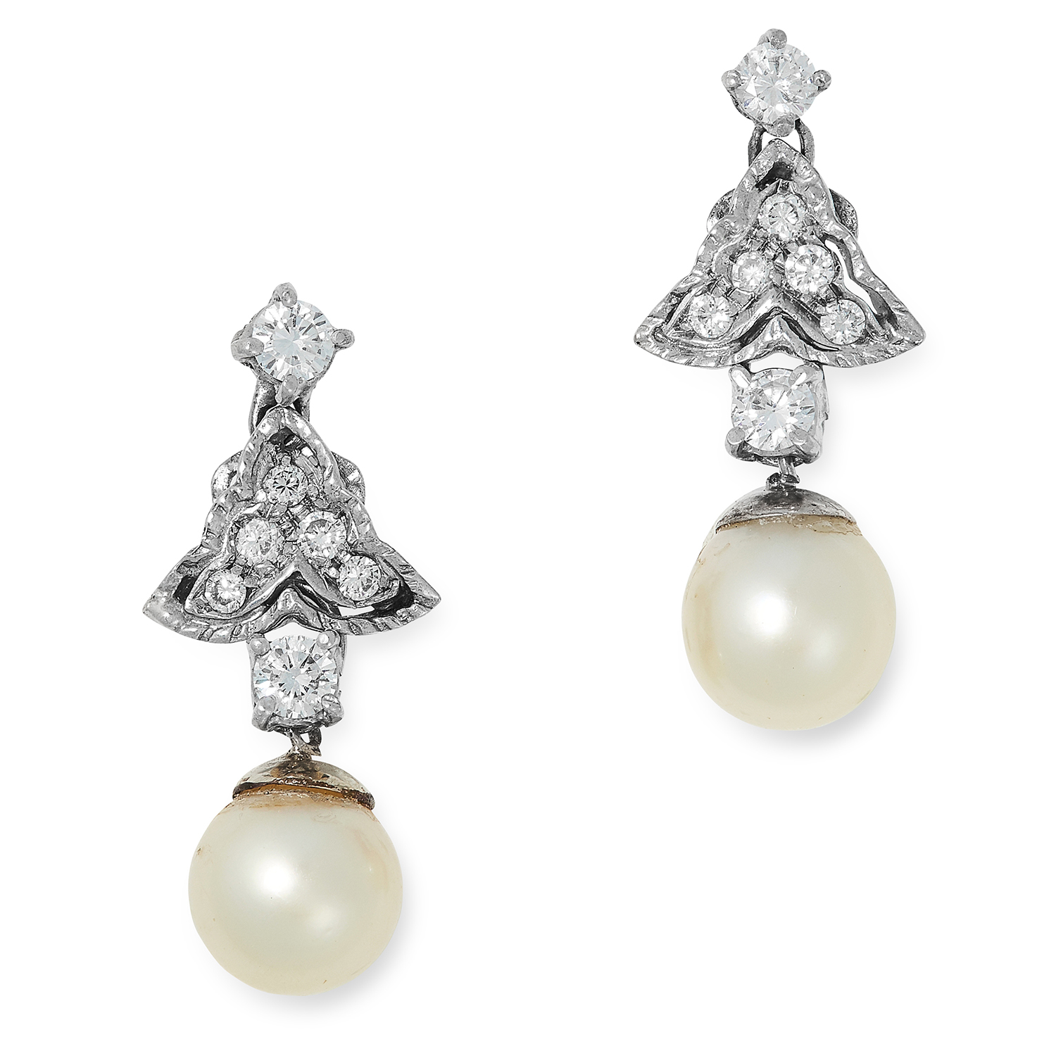 PEARL AND DIAMOND DROP EARRINGS each set with round cut diamonds and suspending a pearl drop, 2.5cm,