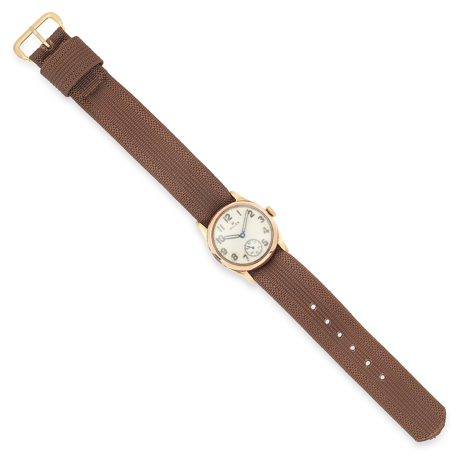 Los 125 - WRISTWATCH, ROLEX with a gold bezel and brown fabric strap, 22.5cm, 22.7g.