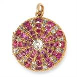 ANTIQUE RUBY AND DIAMOND MOURNING HAIRWORK PENDANT / LOCKET set with cushion cut rubies and old
