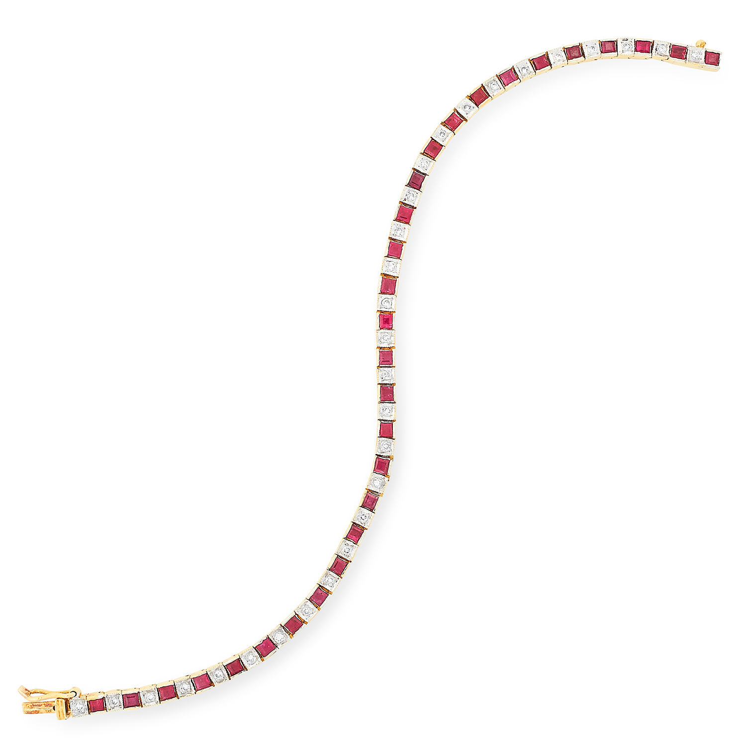 Los 47 - RUBY AND DIAMOND LINE BRACELET comprising of alternating square cut rubies and round cut diamonds,
