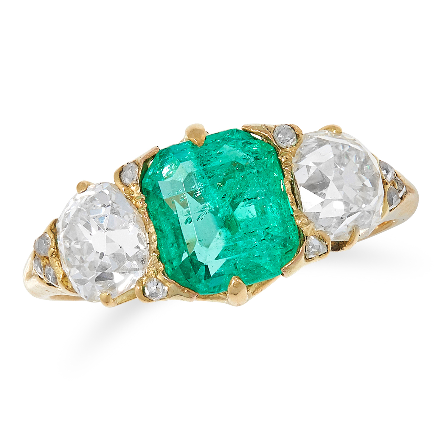 Los 24 - 1.71 CARAT COLOMBIAN EMERALD AND DIAMOND THREE STONE RING set with an emerald cut emerald of 2.72