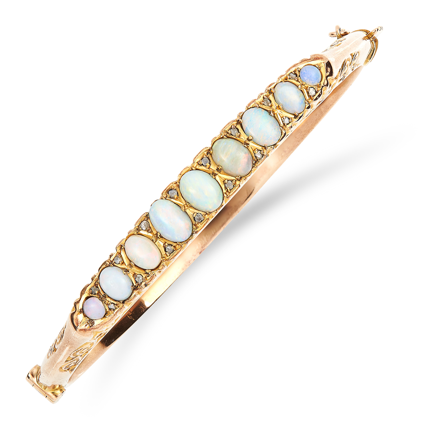 Los 21 - ANTIQUE VICTORIAN OPAL AND DIAMOND BANGLE set with cabochon opals and diamond sparks, 6cm inner