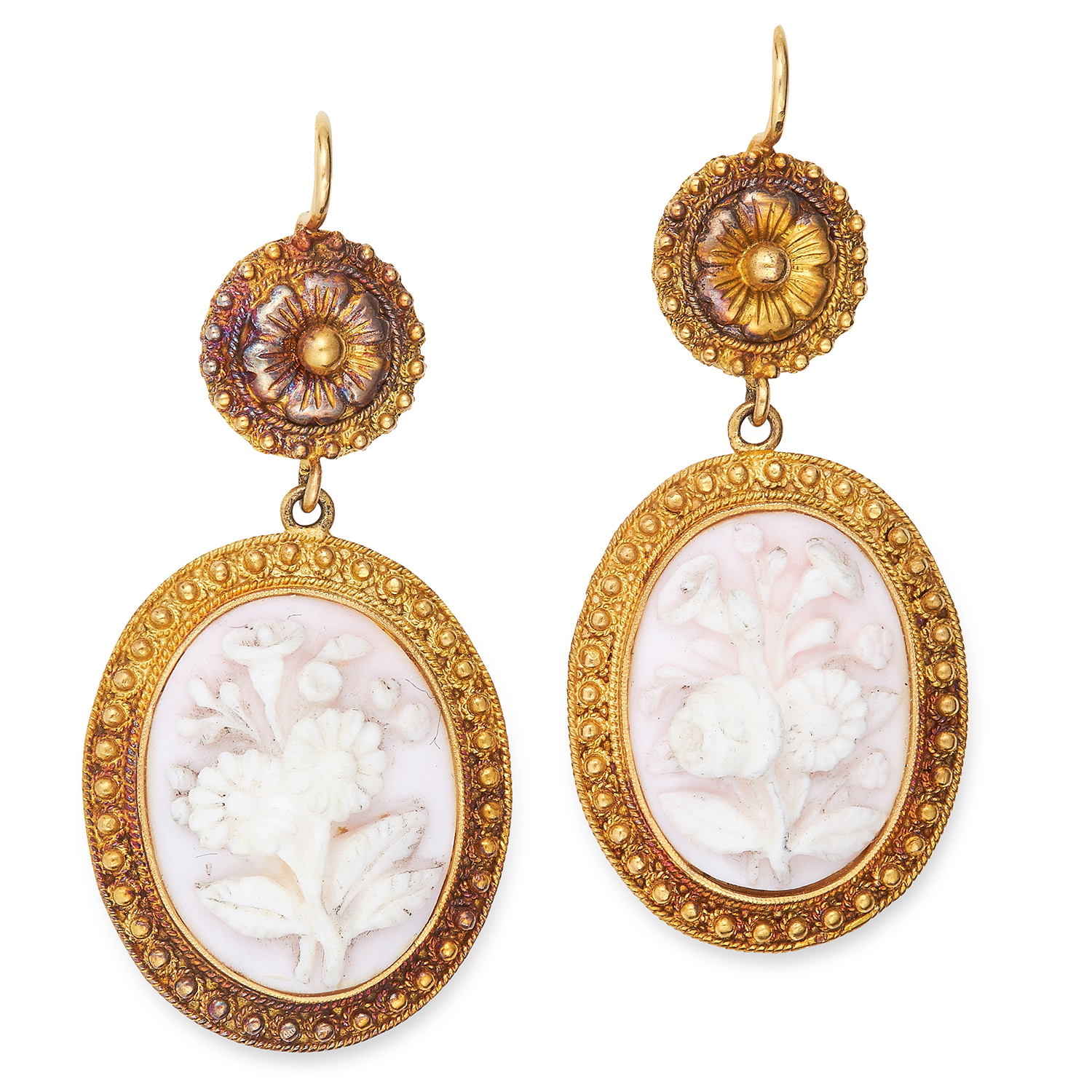 ANTIQUE CORAL CAMEO EARRING AND NECKLACE SUITE in Etruscan revival design, set with carved coral - Bild 3 aus 3