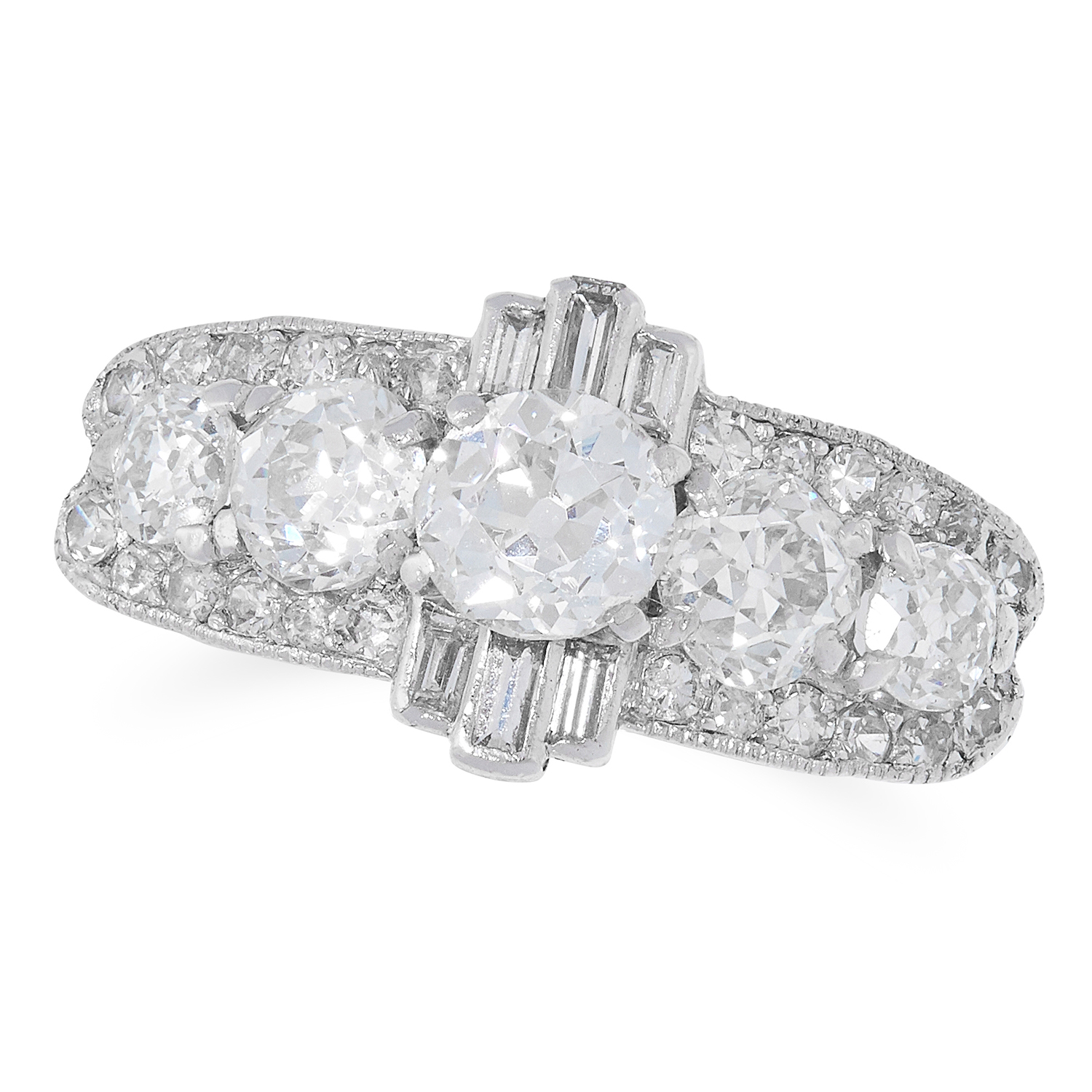 2.78 CARAT DIAMOND RING in Art Deco design set with old, round and baguette cut diamonds totalling