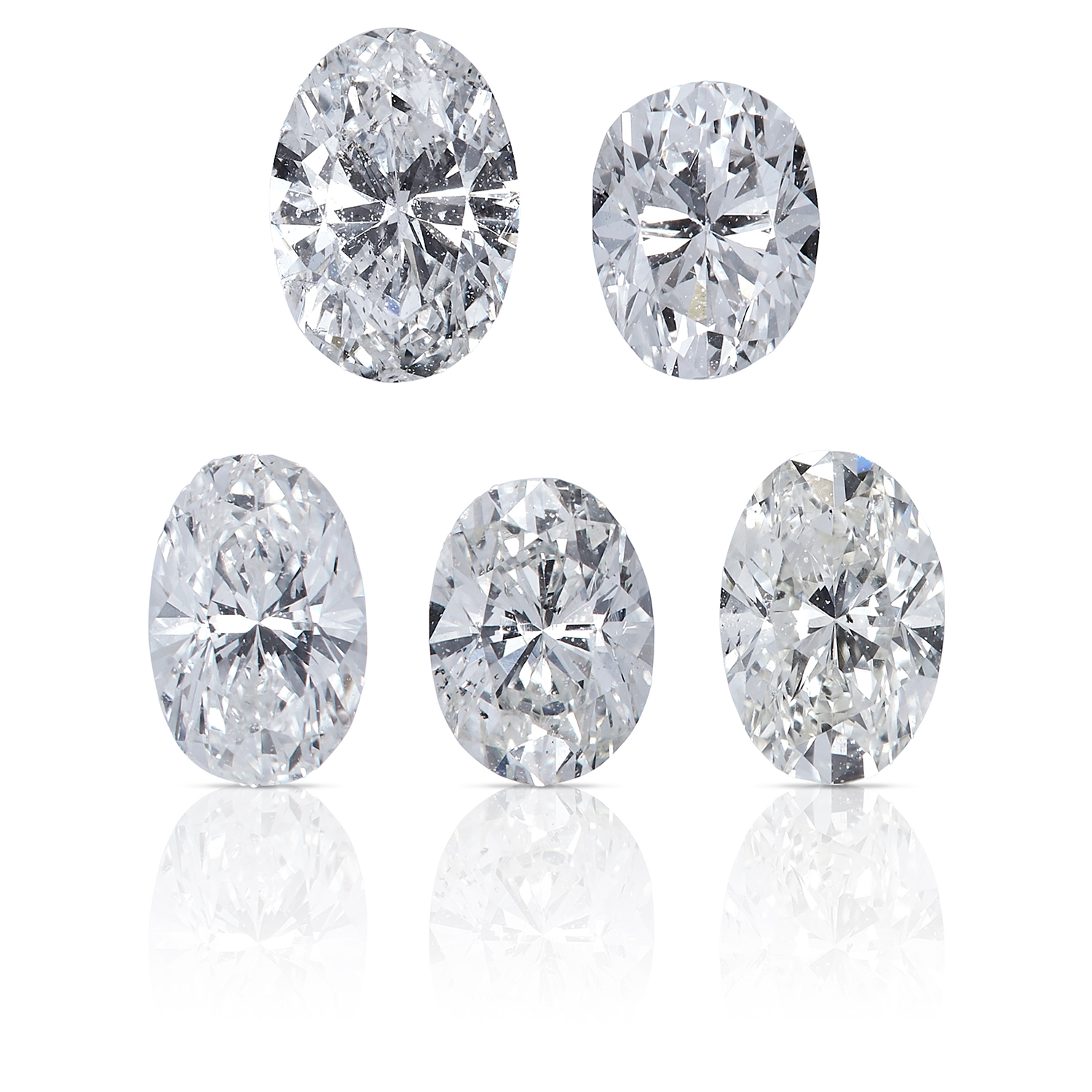 FIVE OVAL SHAPED BRILLIANT CUT DIAMONDS TOTALLING, 1.01cts, UNMOUNTED.